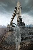 Buldozer on construction site.