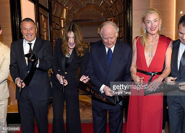 Bulgari CEO Jean Christophe Babin Carla Bruni wearing Bulgari jewellery Nicola Bulgari and Princess Lilly Zu Sayn Wittgenstein Berleburg carrying a...