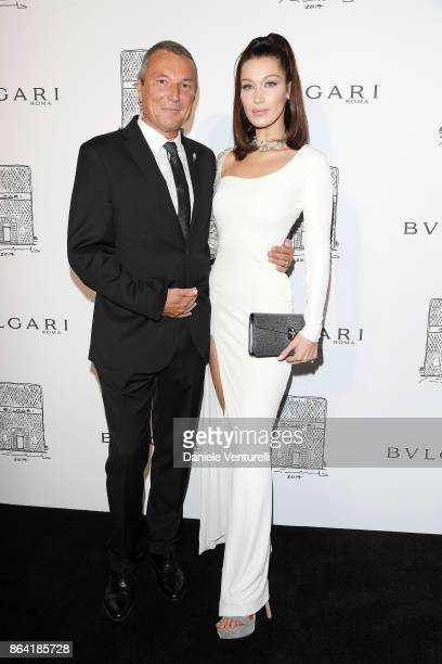 Bulgari CEO JeanChristophe Babin and Bella Hadid attend a party to celebrate the Bvlgari Flagship Store Reopening on October 20 2017 in New York City