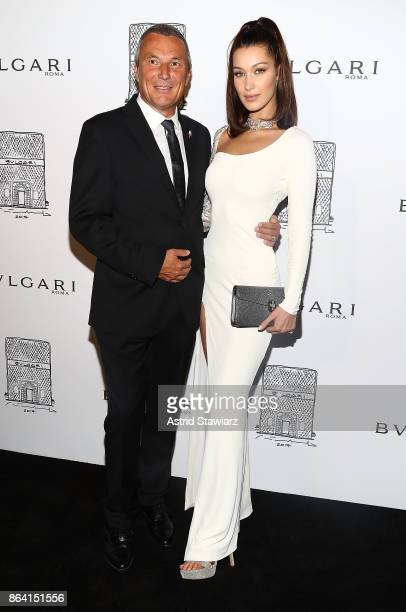 Bulgari CEO JeanChristophe Babin and Bella Hadid attend Bulgari 5th Avenue flagship store opening on October 20 2017 in New York City