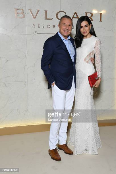 Bulgari CEO JeanChristophe Babin and Diala Makki attend the Grand Opening of Bulgari Dubai Resort on December 5 2017 in Dubai United Arab Emirates