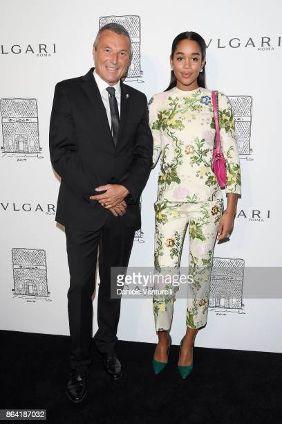 Bulgari CEO JeanChristophe Babin and Laura Harrier attend a party to celebrate the Bvlgari Flagship Store Reopening on October 20 2017 in New York...