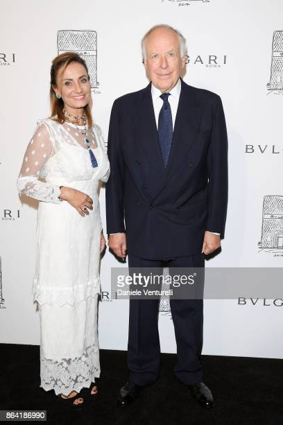 Bulgari creative director Lucia Silvestri and Nicola Bulgari attends a party to celebrate the Bvlgari Flagship Store Reopening on October 20 2017 in...