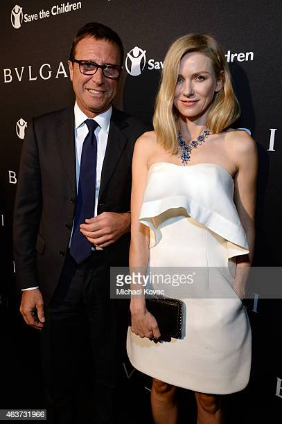 Bulgari President Alberto Festa and actress Naomi Watts attend BVLGARI and Save The Children STOP THINK GIVE PreOscar Event at Spago on February 17...