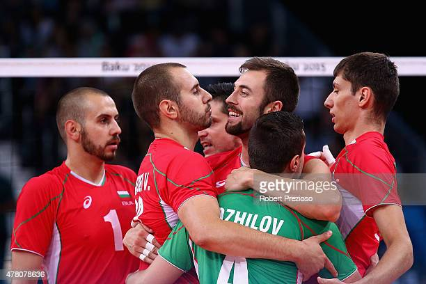 Bulgaria players celebrate winning a point against Slovakia in the Volleyball Men Preliminary Pool B during day ten of the Baku 2015 European Games...
