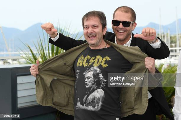 Bulgarian actors Stefan Denolyubov and Dimitar Banenkin attend the 'Posoki' photocall during the 70th annual Cannes Film Festival at Palais des...