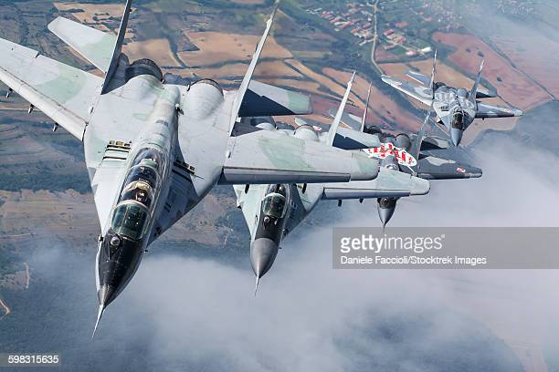 Bulgarian and Polish Air Force MiG-29s planes flying over Bulgaria.