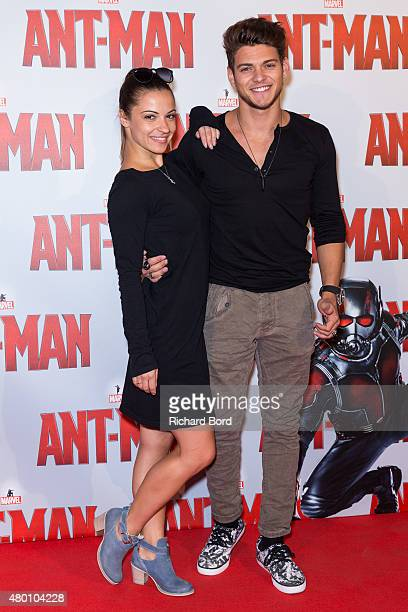 Bulgarian dancer Denitsa Ikonomova and actor Rayane Bensetti attend the 'AntMan' premiere at Le Grand Rex on July 9 2015 in Paris France