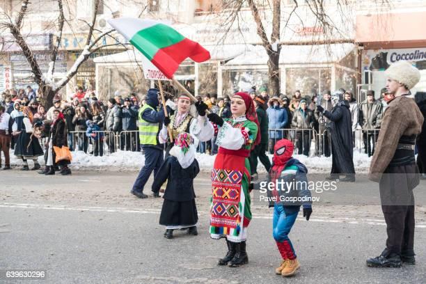Bulgarian Girl Weaving The Bulgarian Glag During A Traditional Kukeri Festival