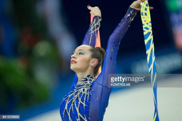 Bulgarian Halkina Katsiaryna performs the ribbon exercise during the FIG 35th Rhytmic Gymnastic World Championship