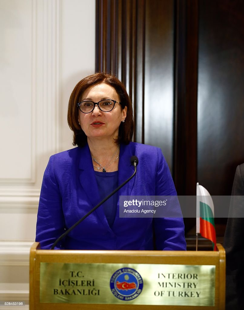 Bulgarian Interior Minister Rumyana Bachvarova attends a press conference with Turkish Interior Minister Efkan Ala after signing an agreement on implementation of the EU-Turkey agreement on accepting back illegally staying individuals in Ankara, Turkey on May 5, 2016.