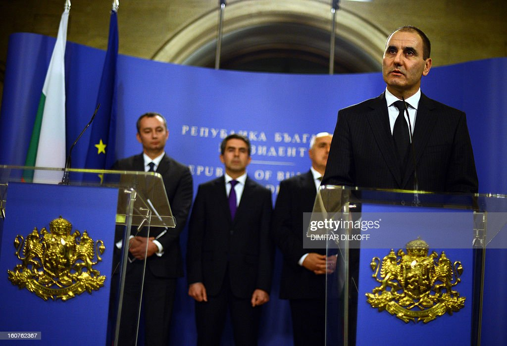 Bulgarian Interior Minister Tsvetan Tsvetanov (R) speaks during a press conference with (L-R) Bulgarian Foreign Minister Nikolay Mladenov, Bulgarian president Rosen Plevenliev and Bulgarian Prime Minister Boiko Boirsov after a Bulgarian national security conference in Sofia on February 5, 2013. The Bulgarian government said today that two people with Canadian and Australian passports linked to the Lebanese militia movement Hezbollah were behind a bomb attack on Bulgaria's Black Sea coast in July that killed five Israeli tourists.