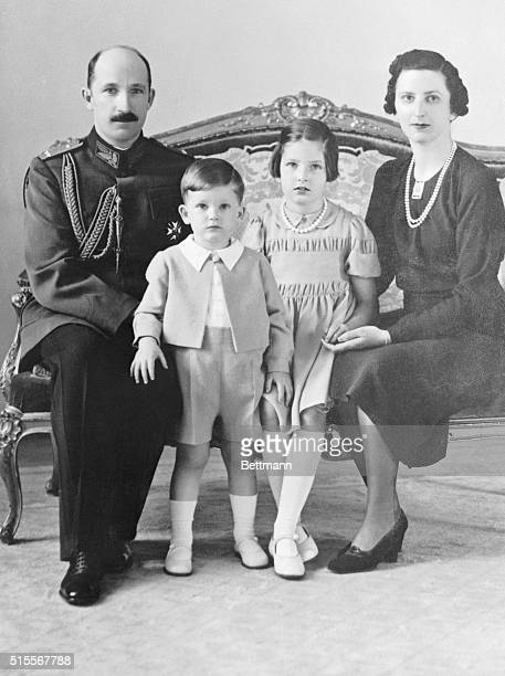 Bulgarian King Boris III with his family son Prince Simon II daughter Princess Marie and wife Queen Joanna