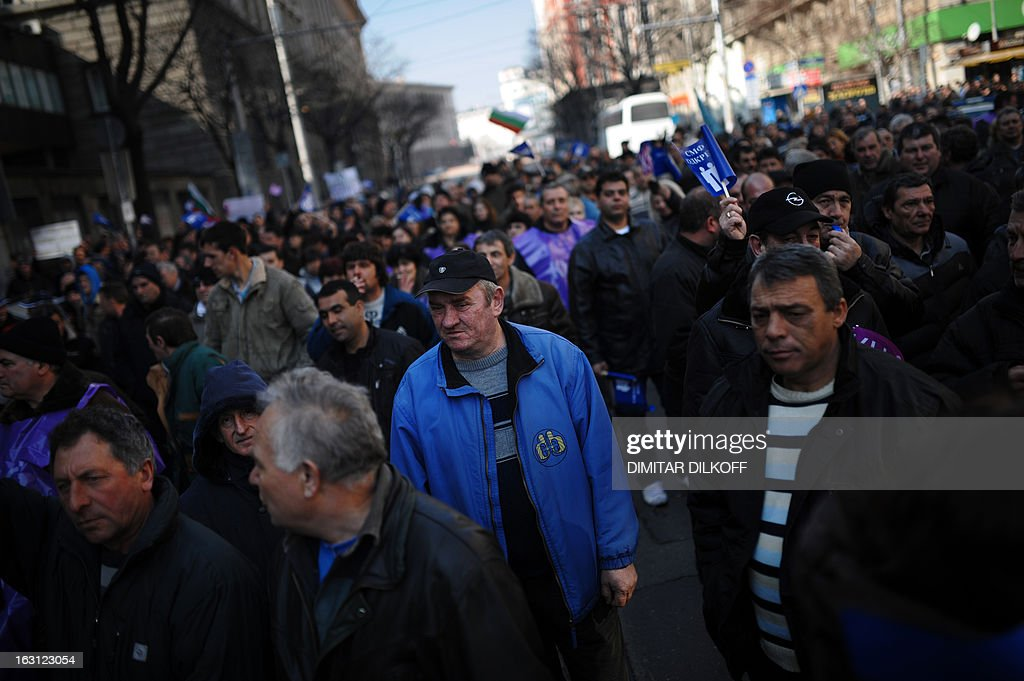 Bulgarian miners attend a protest in downtown Sofia on March 5, 2013. Over 1,500 Bulgarian miners rallied fearing for their jobs after the announced temporary shutdowns of coal-fired plants in the crisis-hit country to balance low consumption and exports. The protest, organised by the two primary trade unions KNSB and Podkrepa, added to snowballing public discontent over high electricity bills, growing poverty and corruption in EU's poorest country that toppled the right wing government two weeks ago.