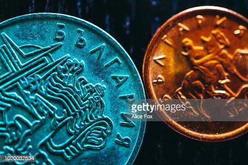 Bulgarische Geld Metallmünzen Lev Bgn Währung Makroansicht Finanzen