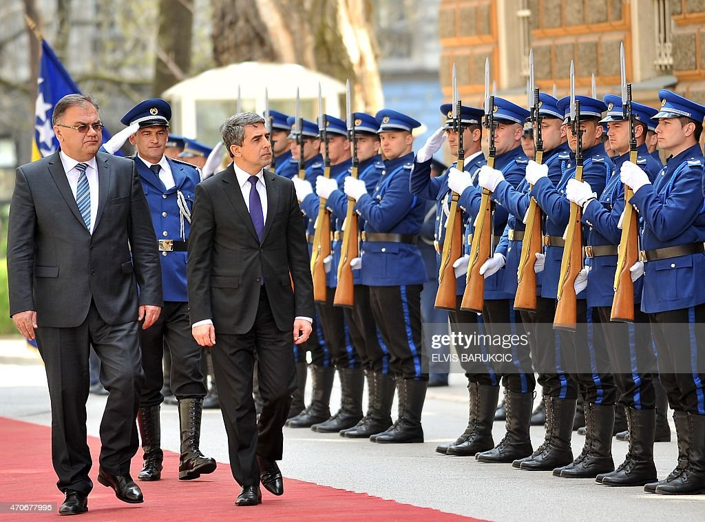 Bulgarian President <a gi-track='captionPersonalityLinkClicked' href=/galleries/search?phrase=Rosen+Plevneliev&family=editorial&specificpeople=6873737 ng-click='$event.stopPropagation()'>Rosen Plevneliev</a> (3rd L) and Chairman of Bosnia and Herzegovina's tripartite presidency, Mladen Ivanic, review a Bosnian Armed Forces colour guard, during a welcoming ceremony in Sarajevo on April 22, 2015. Bulgaria's President is on a two-day official visit.