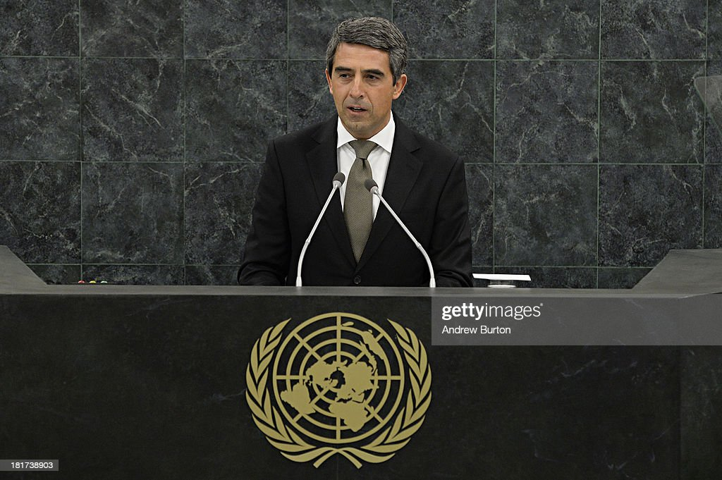 Bulgarian President <a gi-track='captionPersonalityLinkClicked' href=/galleries/search?phrase=Rosen+Plevneliev&family=editorial&specificpeople=6873737 ng-click='$event.stopPropagation()'>Rosen Plevneliev</a> speaks at the 68th United Nations General Assembly on September 24, 2013 in New York City. Over 120 prime ministers, presidents and monarchs are gathering this week for the annual meeting at the temporary General Assembly Hall at the U.N. headquarters while the General Assembly Building is closed for renovations.