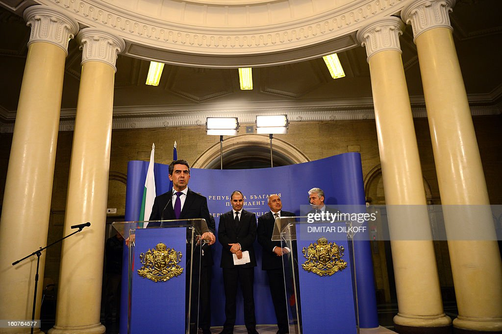 Bulgarian president Rossen Plevenliev speaks during a joint press conference with Prime minister Boiko Borisov (2nd R) and Bulgarian Interior Minister Tsvetan Tsvetanov (2nd L) after a Bulgarian national security conference in Sofia on February 5, 2013. The Bulgarian government said today that two people with Canadian and Australian passports linked to the Lebanese militia movement Hezbollah were behind a bomb attack on Bulgaria's Black Sea coast in July that killed five Israeli tourists.