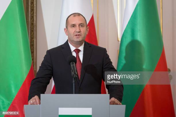 Bulgarian President Rumen Radev speak at a press conference after meeting with Polish President Andrzej Duda in the Belvedere Palace in Warsaw Poland...
