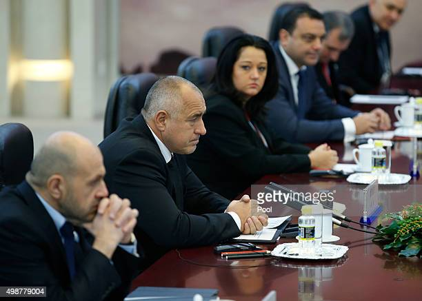 Bulgarian Prime Minister Boiko Borisov attends a meeting with China's Premier Li Keqiang on the sideline of the 4th Meeting of Heads of Government of...