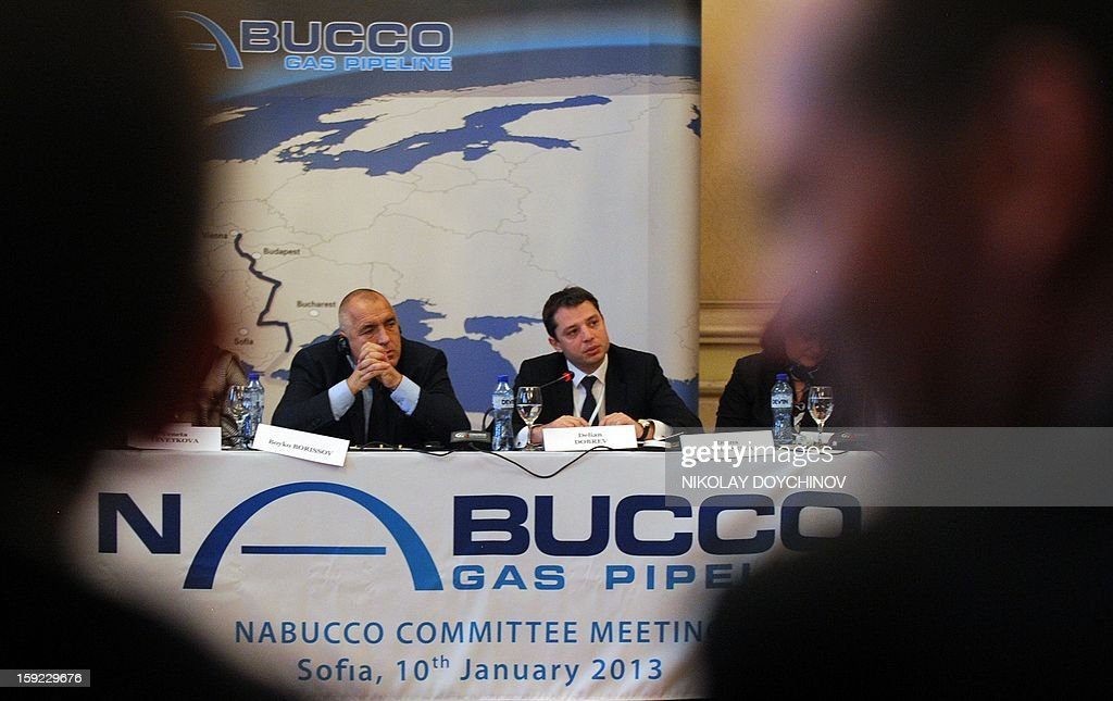 Bulgarian Prime Minister Boyko Borisov (L) and Bulgarian Minister of Economy, Energy and Tourism Delyan Dobrev attend a meeting of the shareholders of gas pipeline Nabucco West, in Sofia, on January 10, 2013. The consortium developing a huge gas field in Azerbaijan will decide by the end of June whether to pick EU's flagship Nabucco pipeline as its preferred transport route to Europe, a Nabucco representative said on January 10.