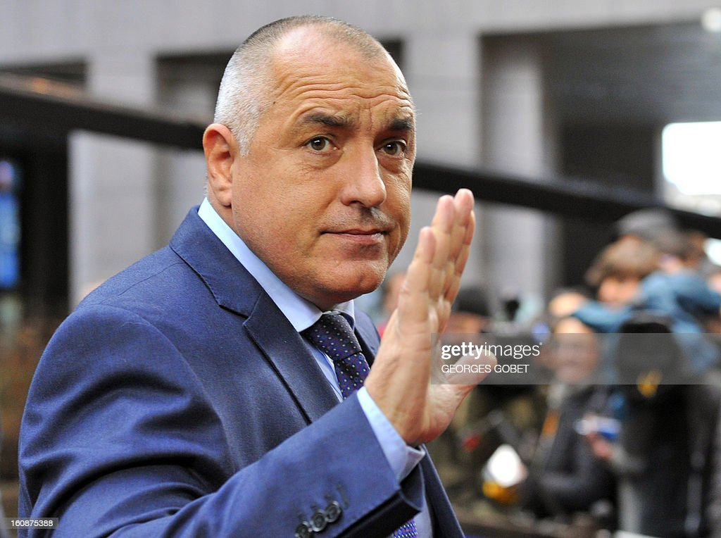 Bulgarian Prime Minister Boyko Borisov arrives at the EU Headquarters on February 7, 2013 in Brussels, on the first day of a two-day European Union leaders summit. European Union leaders head into a fresh clash over the EU's budget with the only certainty being that proposals for several years will be cut back. AFP PHOTO / GEORGES GOBET