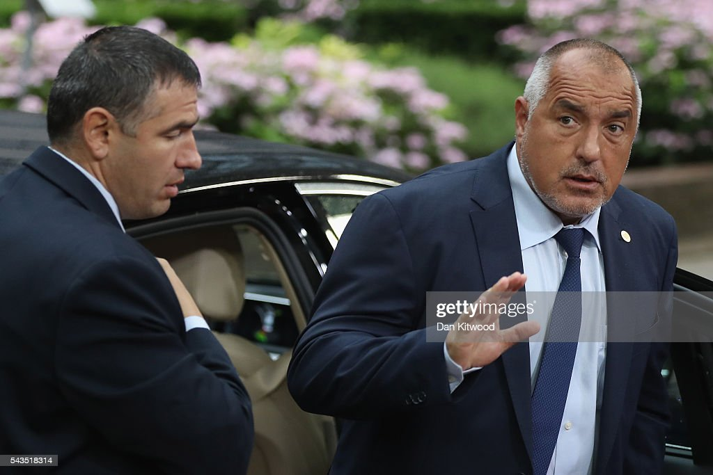 Bulgarian Prime minister <a gi-track='captionPersonalityLinkClicked' href=/galleries/search?phrase=Boyko+Borisov&family=editorial&specificpeople=5906164 ng-click='$event.stopPropagation()'>Boyko Borisov</a> attends a second day of European Council meetings at the Council of the European Union building on June 29, 2016 in Brussels, Belgium. British Prime Minister David Cameron held talks with other EU leaders yesterday during his final scheduled meeting with the full European Council before standing down as Prime Minister. The meetings come at a time of economic and political uncertainty following the referendum result last week which saw the UK vote to leave the European Union.