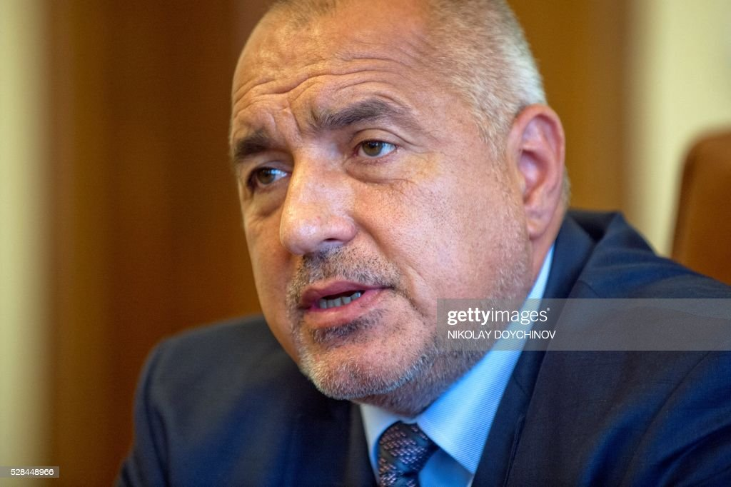 Bulgarian Prime minister Boyko Borisov speaks during an interview with AFP in Sofia on May 5, 2016. Eastern European countries who rejected the new EU refugee policies should show more solidarity, Bulgarian PM Boyko Borisov urged on Thursday, affirming that Sofia will accept its migrant quota. In an interview with AFP, the conservative Borisov insisted that it was not fair to speak about solidarity only when it concerns poor member states like Bulgaria, who rely on EU funds, but it should also work the other way round. / AFP / NIKOLAY