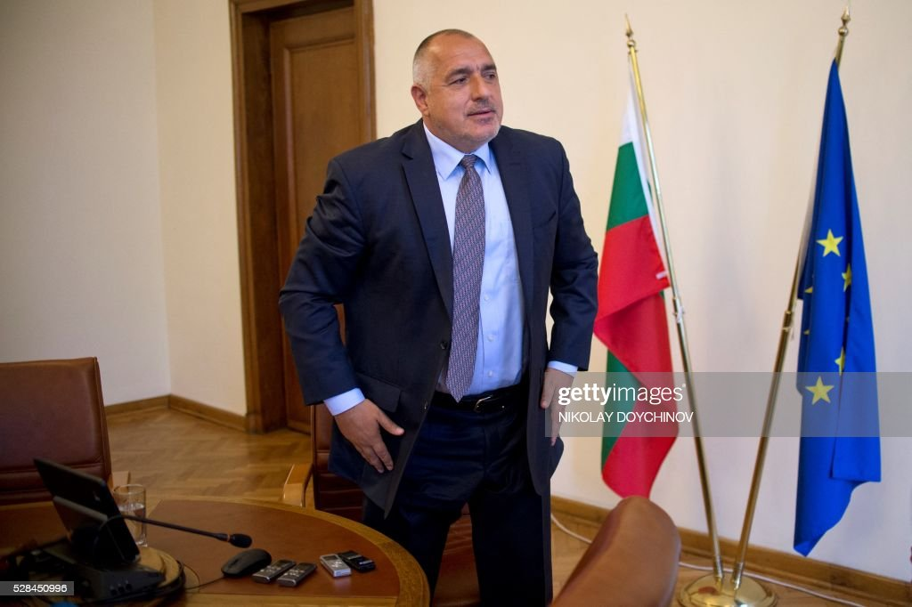 Bulgarian Prime minister Boyko Borisov stands after an interview with AFP in Sofia on May 5, 2016. Eastern European countries who rejected the new EU refugee policies should show more solidarity, Bulgarian PM Boyko Borisov urged on Thursday, affirming that Sofia will accept its migrant quota. In an interview with AFP, the conservative Borisov insisted that it was not fair to speak about solidarity only when it concerns poor member states like Bulgaria, who rely on EU funds, but it should also work the other way round. / AFP / NIKOLAY