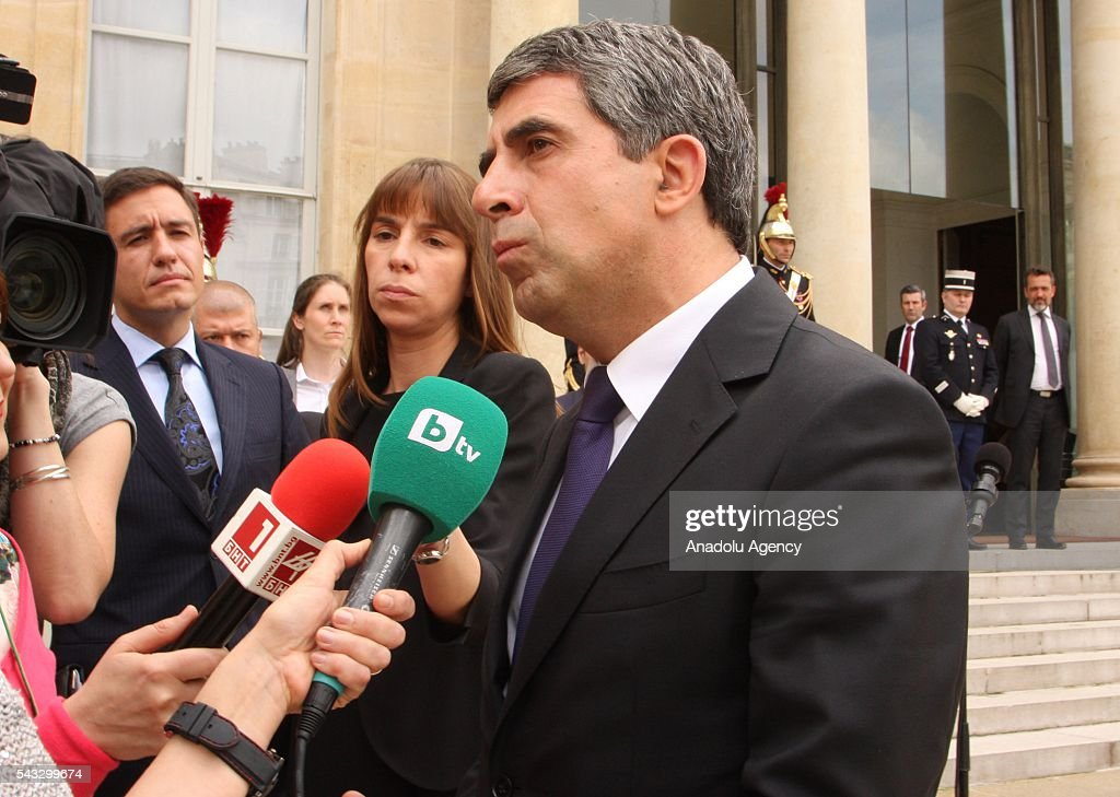 Bulgarian Prime Minister Rosen Plevneliev speaks to media after attending a meeting with French President Francois Hollande at the Elysee Palace in Paris, France on June 27, 2016.