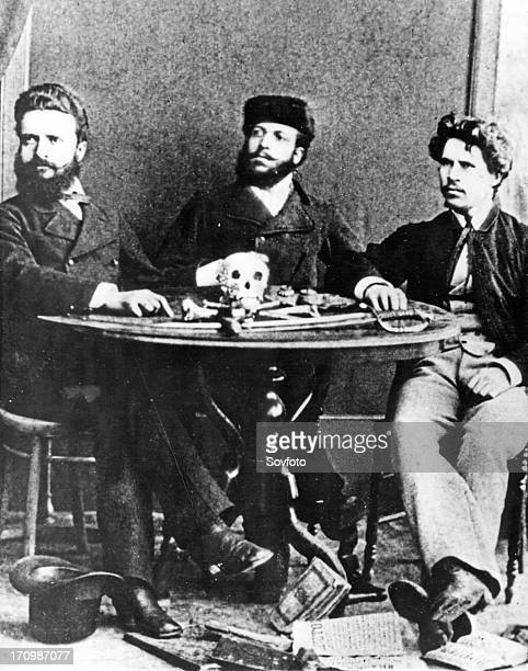 Bulgarian revolutionaries christo botev nikola slavkov and ivan drussov in bucharest in 1875