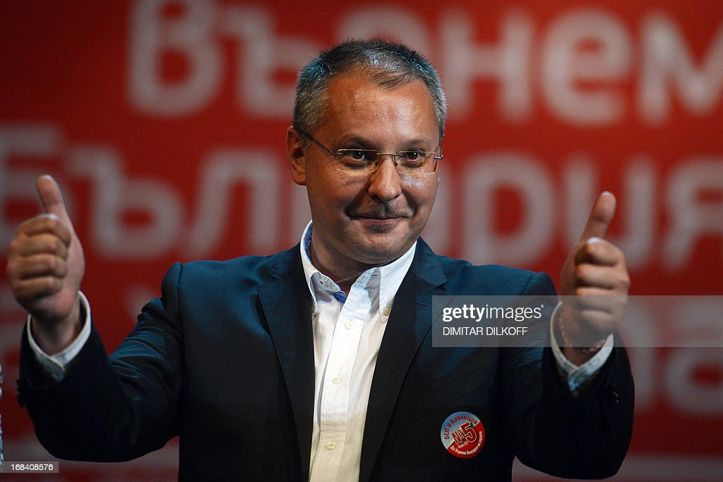Bulgarian Socialist Party leader Sergey Stanishev holds his thumbs up during a pre-election rally in Sofia on May 9, 2013. Five Bulgarian opposition parties said on May 7 that they have commissioned a parallel independent count of votes in May 12 snap parliamentary election because of worries about irregularities. The parallel count was ordered by the opposition Socialists, the Turkish minority MRF party, the ultra-nationalists Ataka, the right-wing DSB and a new centre-right formation DMB of ex-EU Commissioner Meglena Kuneva.