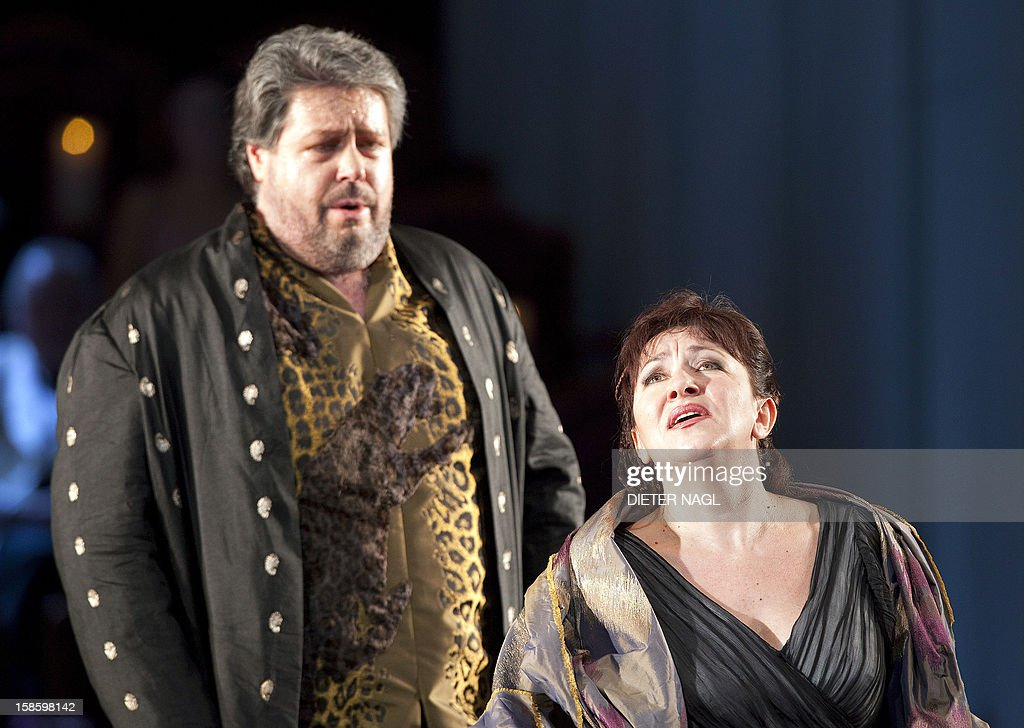 Bulgarian soprano Krassimira Stoyanova (R) as Ariadne and US tenor Stephen Gould as Bacchus perform at the general rehearsal of a new production of the opera 'Ariadne at Naxos' on December 15, 2012 at the stateopera in Vienna.