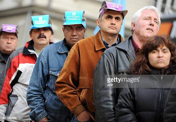Bulgarian steel workers are pictured during a protest in the center of Sofia on April 1 2009Over 1000 workers at Bulgaria's biggest steelmaker...