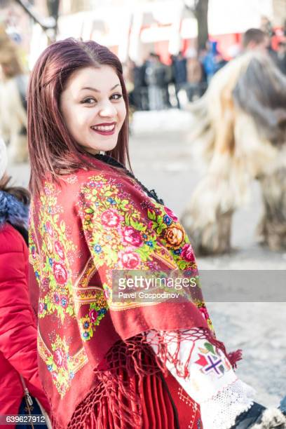 Bulgarian Woman Wearing Traditional Cloths Dancing During A Traditional Kukeri Festival