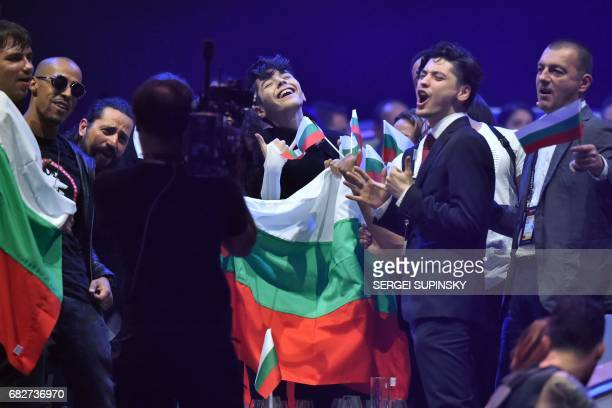 BulgarianRussian singer representing Bulgaria with the song 'Beautiful mess' Kristian Konstantinov Kostov aka Kristian Kostov reacts with his team...