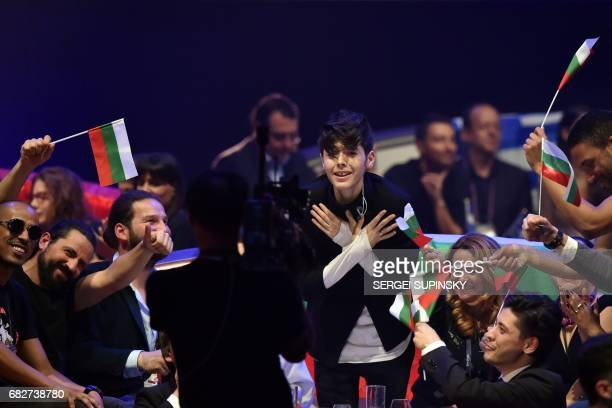 BulgarianRussian singer representing Bulgaria with the song 'Beautiful mess' Kristian Konstantinov Kostov aka Kristian Kostov reacts during vote...