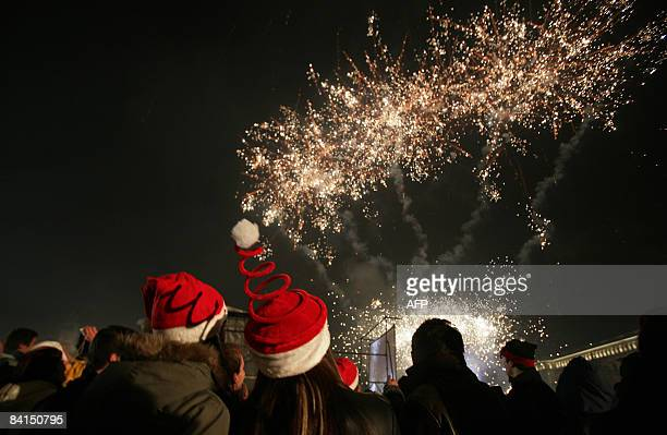Bulgarians are pictured during celebrations of the New Year at Sofia's main square early on January 1 2009 AFP PHOTO / BORYANA KATSAROVA