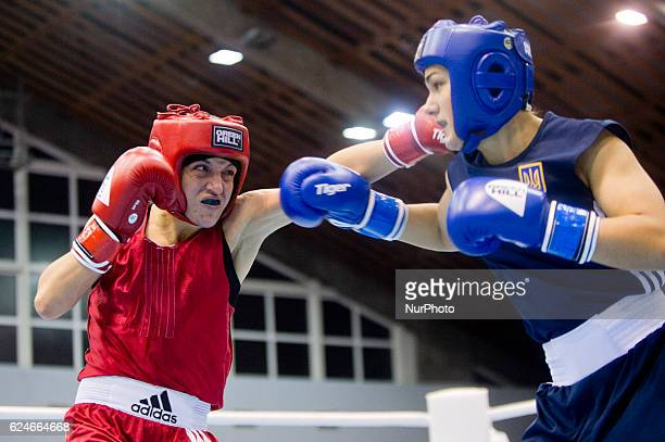 Bulgaria's Denitsa Eliseeva during the EUBC European Womens Boxing Championships Sofia 2016 game between Bulgaria's Denitsa Eliseeva and Ukraine's...