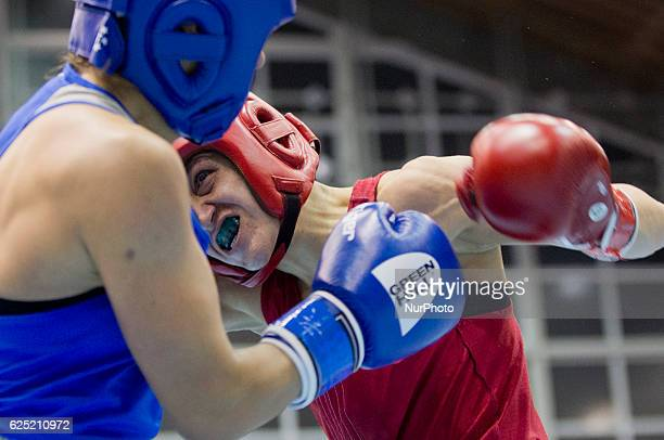 Bulgaria's Denitsa Eliseeva during the EUBC European Womens Boxing Championships Sofia 2016 semi final bout between Bulgaria's Denitsa Eliseeva and...