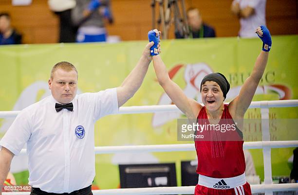 Bulgaria's Denitsa Eliseeva during the EUBC European Womens Boxing Championships Sofia 2016 final bout between Bulgaria's Denitsa Eliseeva and...