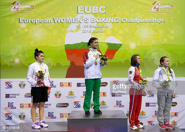 Bulgaria's Denitsa Eliseeva posses with the golden medal during the EUBC European Womens Boxing Championships Sofia 2016 at Sports Hall Sofia...