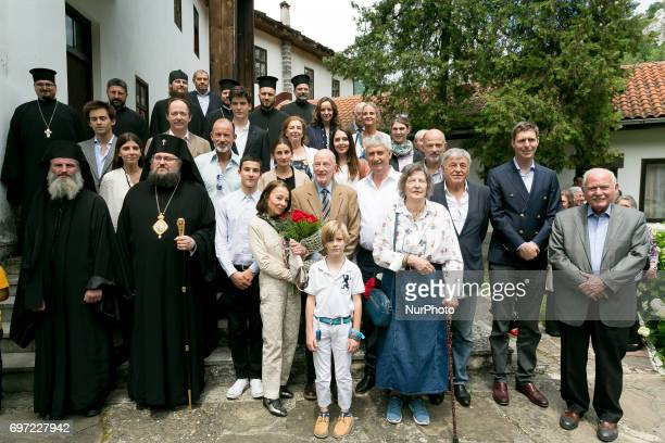 Bulgaria's exKing and former Prime Minister Simeon SaxeCoburgGotha poses with friends and priest in Vratsa region Bulgaria on 17 June 2017