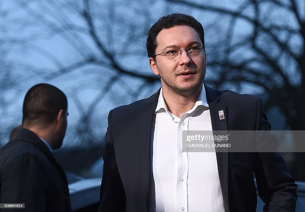 Bulgaria's Foreign Minister Daniel Mitov arrives to attend a EU foreign ministers meeting in Amsterdam, on February 6, 2016. The European Union on Wednesday finally reached agreement on how to finance a three-billion-euro ($3.3-billion) deal to aid Syrian refugees in Turkey, in exchange for Ankara's help in stemming the flow of migrants. / AFP / EMMANUEL DUNAND