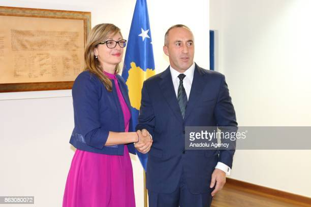 Bulgaria's Foreign Minister Ekaterina Zakharieva meets with Prime Minister of Kosovo Ramush Haradinaj in Pristina Kosovo on October 19 2017