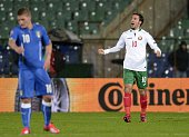 Bulgaria's Forward Ivelin Popov celebrates after scoring a goal during the EURO 2016 Group H match between Bulgaria and Italy at Vassil Levski...