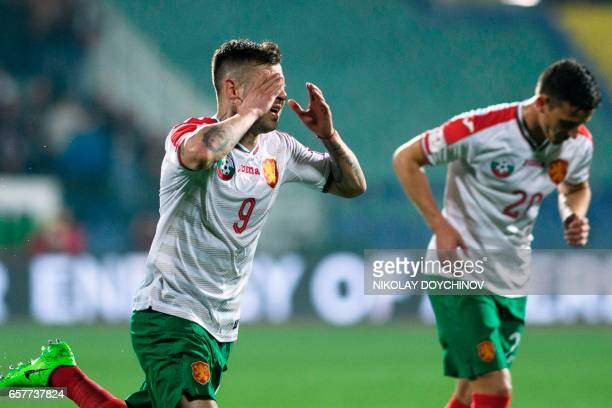 Bulgaria's Forward Spas Delev celebrates after scoring during the FIFA World Cup 2018 qualification football match between Bulgaria and Netherland in...