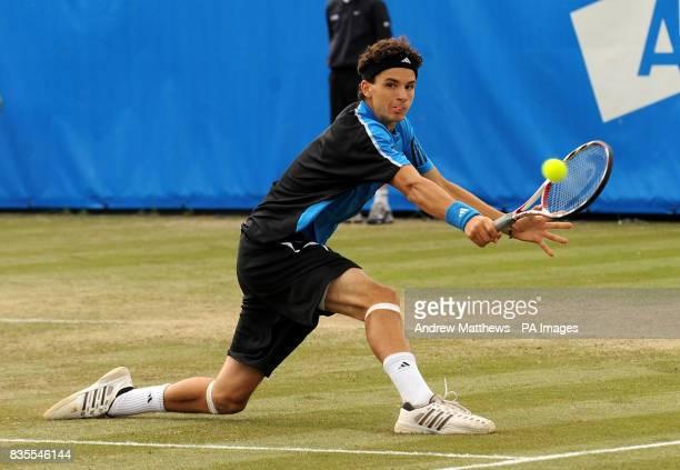 Bulgaria's Grigor Dimitrov in action against Great Britain's Alex Bogdanovic during the Nottingham Open at the Nottingham Tennis Centre Nottingham