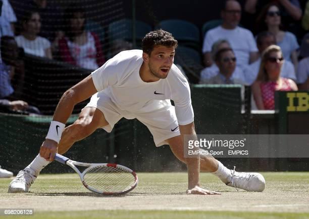 Bulgaria's Grigor Dimitrov in action against Serbia's Novak Djokovic