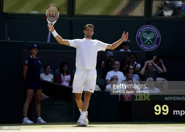 Bulgaria's Grigor Dimitrov reacts during his match against Serbia's Novak Djokovic